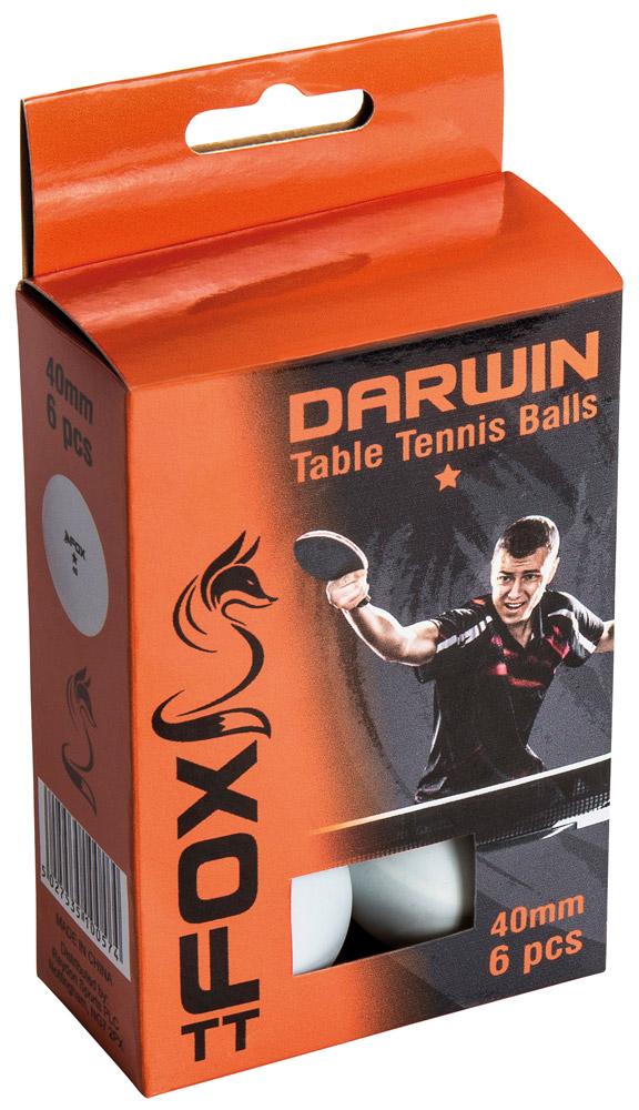 Fox TT Darwin 1 Star Table Tennis Balls (Pack of 6)