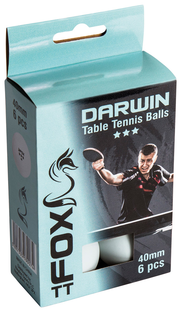 Fox TT Darwin 3 Star Table Tennis Balls (Pack of 6)