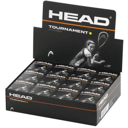 Head Tournament Squash Balls - Single Yellow Dot - Box of 12